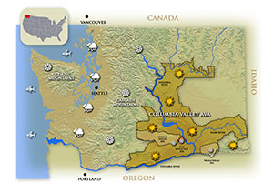 Washington Wine Map of Columbia Valley AVA